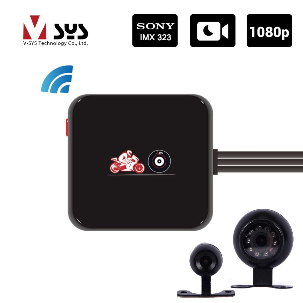 VSYS M6L WiFi 1080P Motorcycle Dash Cam with HD 720P Rear View Camera Waterproof IR Night Vision Motorbike DVR Black Box
