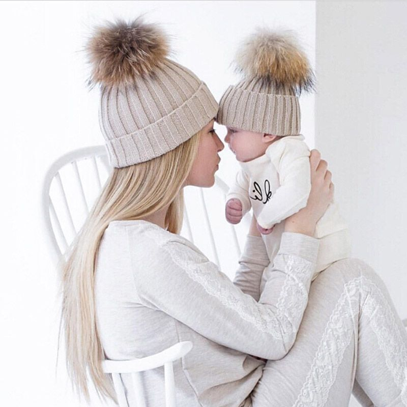 Mom und Baby Passende Strickmützen Warme Fleece Häkeln Beanie Hüte Winter Nerz PomPom Kinder Kinder Mama Kopfbedeckung Hut Caps