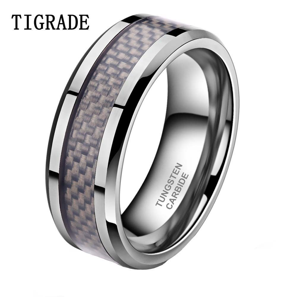 TIGRADE 8mm Carbon Fiber Inlay Tungsten Carbide Wedding Band Men Ring Polished <font><b>Edges</b></font> Engagement Rings For Women bague homme