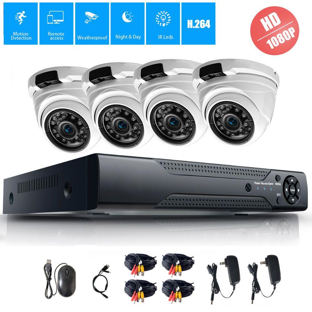 4CH CCTV System 1080P HDMI AHD CCTV DVR 4PCS 2.0MP HD IR Night Vision Outdoor Home Security Camera Surveillance System Kit