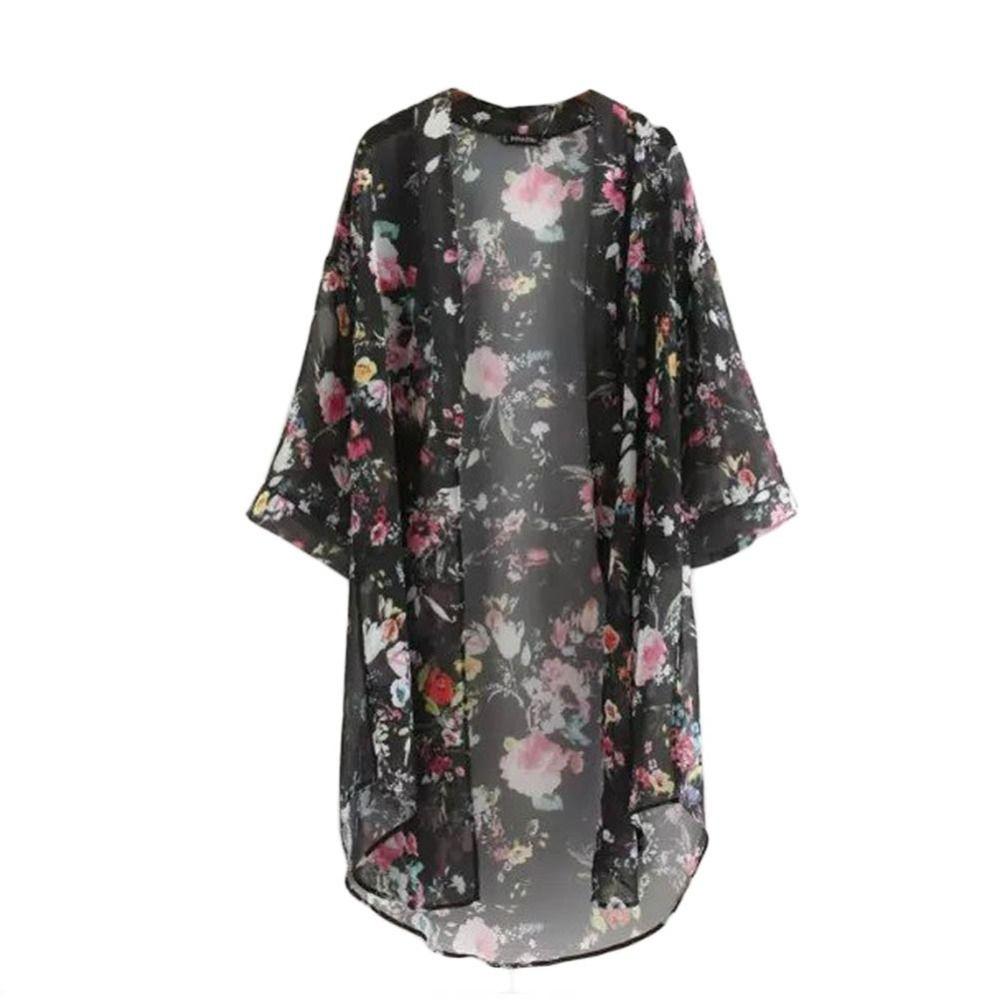 2019 été Sunproof Cardigan mode femmes en mousseline de soie Bikini couvrir Kimono Cardigan manteau camisa Floral imprimer blusas de plage