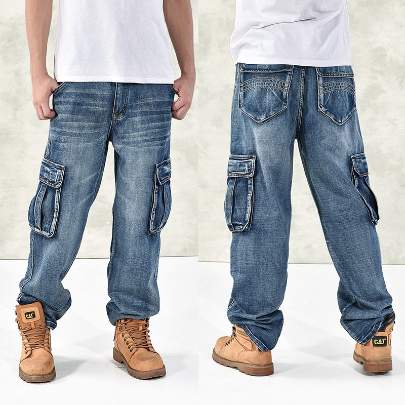 HOT New 2018 Large Size 30-44 46 Jeans Fashion Loose Big Pockets Hip-Hop Skateboard Casual Men Denim Blue & Black Design Brand