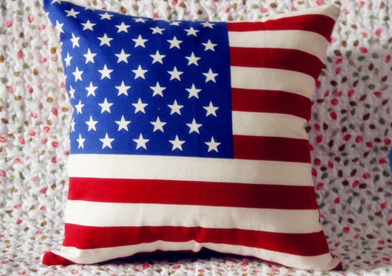 Drapeau de l'amérique imprimé housse de coussin en coton uk drapeau britannique tour Eiffel canapé décoratif coushions Usa drapeau taie d'oreiller mariage