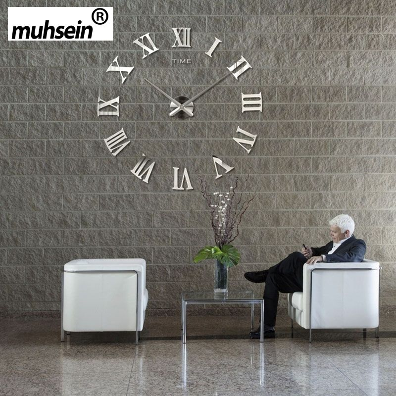 2019 muhsein Roman Mirror 3D real big promotion home decor large Quartz Clocks fashion watches fashion modern Free Shipping