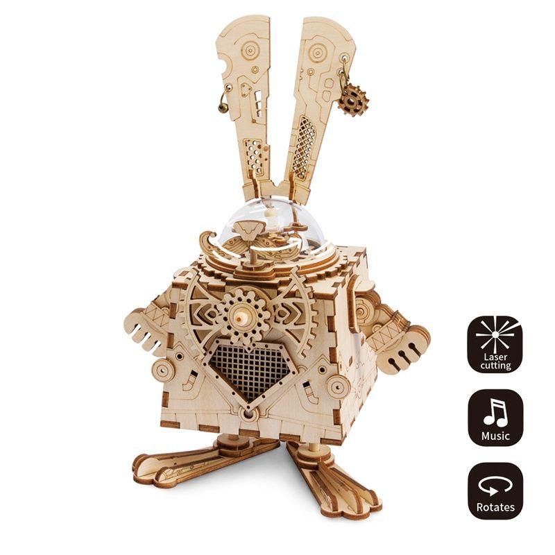 Robotime Creative bricolage 3D Steampunk Lapin puzzle en bois Jeu L'assemblée boîte à musique Jouet Cadeau pour les Enfants Adolescents Adulte AM481