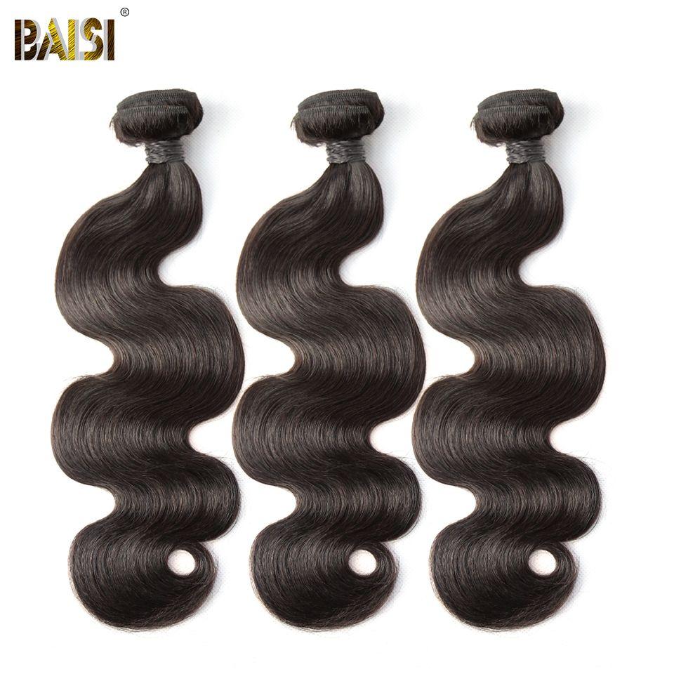 BAISI Corps Vague Péruvienne 8A Vierge Cheveux Nature Couleur 100% de Cheveux Humains Extensions 10-28 pouce, 1/3/4 pcs Disponible Livraison Gratuite