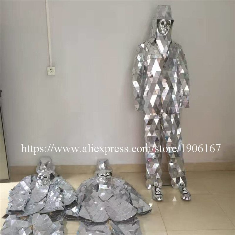 Catwalk Shows Men Silver Color Stage Ballrooom Costume Mirror Man Clothing Party Christmas Performance DJ Singer Clothes Suit