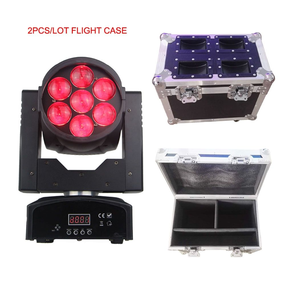 2pcs+flight case wash/beam moving head led 7x15w RGBW 4in1professional KTV/DJ /Bar /Party /Show /Stage with zoom function