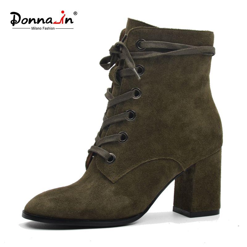 Donna-dans femmes bottes en daim naturel en cuir épais à talons hauts en dentelle-up martin bottes véritable chaussures en cuir carré orteil cheville bottes