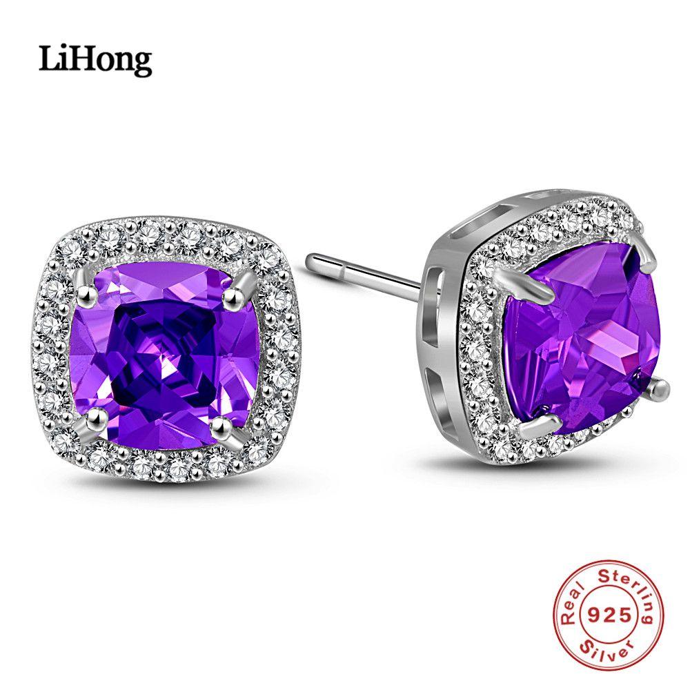 Brand Jewelry Natural Amethyst Earrings Genuine 925 Sterling Silver Earrings Brand Women'S Wedding Jewelry