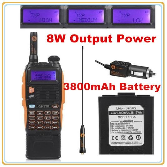 3800mAh Battery Baofeng GT-3TP MarkIII 8W Dual Band VHF UHF Ham Two-way Radio <font><b>Walkie</b></font> Talkie Transceiver