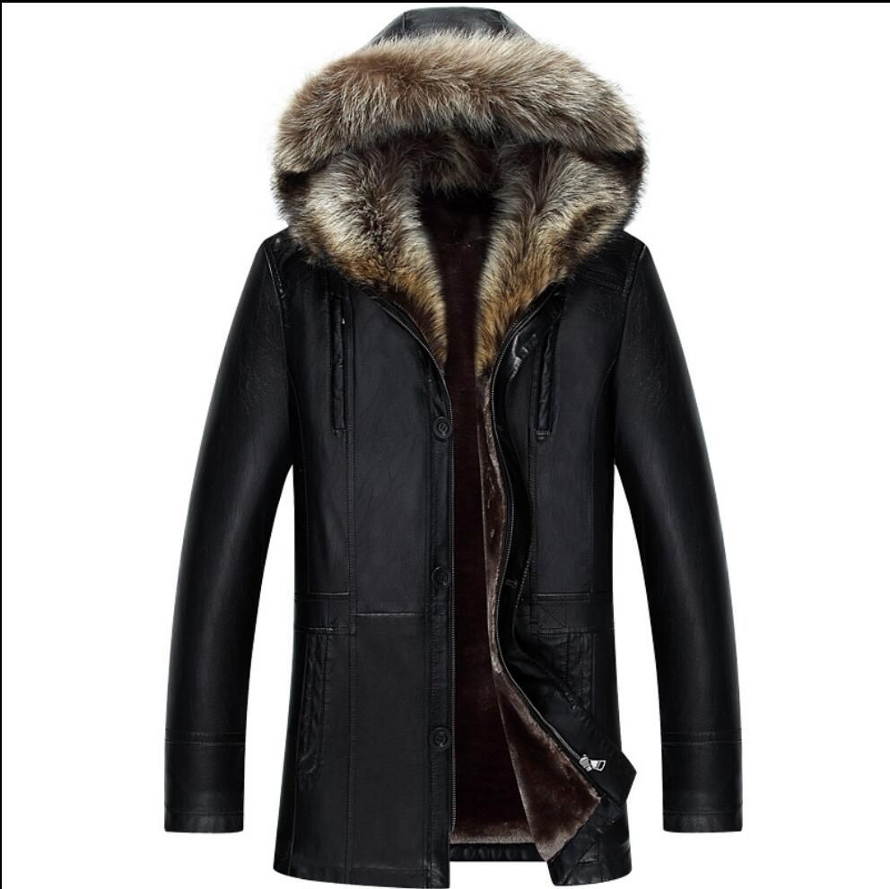 M-4XL Plus Size Clothing Winter PU Leather Jackets Leather Coat Men's Hooded Faux Leather Jackets Faux Leather Warm Overcoat