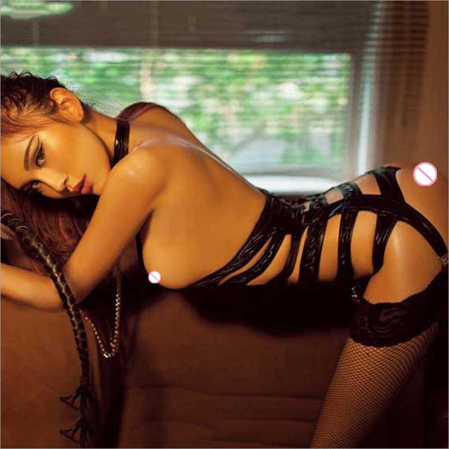2017 Nouveau jarretière ceinture Justaucorps + bracelet femmes Sexy lingerie En Cuir érotique lingerie exposés buste cosplay bandage sexy Costumes 347