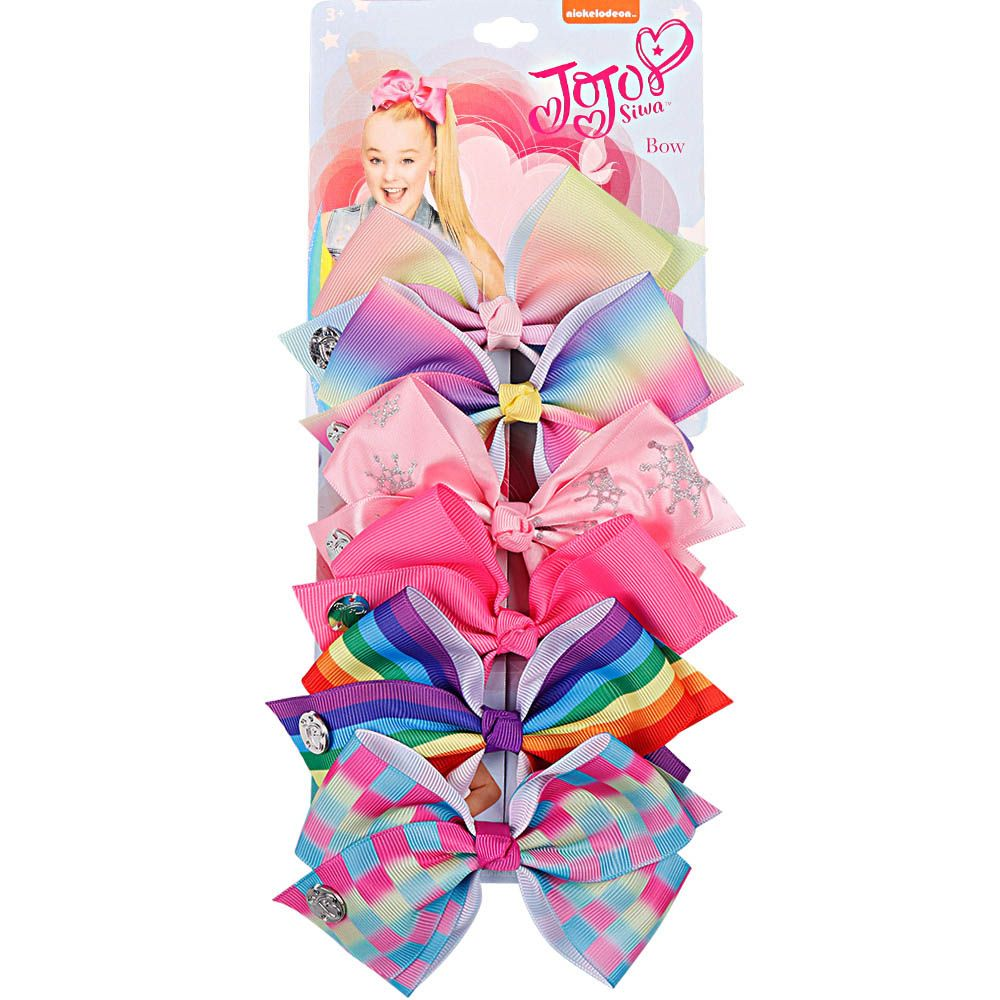 6 Pieces/Set Handmade Hair Bows With Hair Clips For Girls Kids Handmade Unicorn Rainbow Printed Knot <font><b>Ribbon</b></font> Bow Hair Accessories