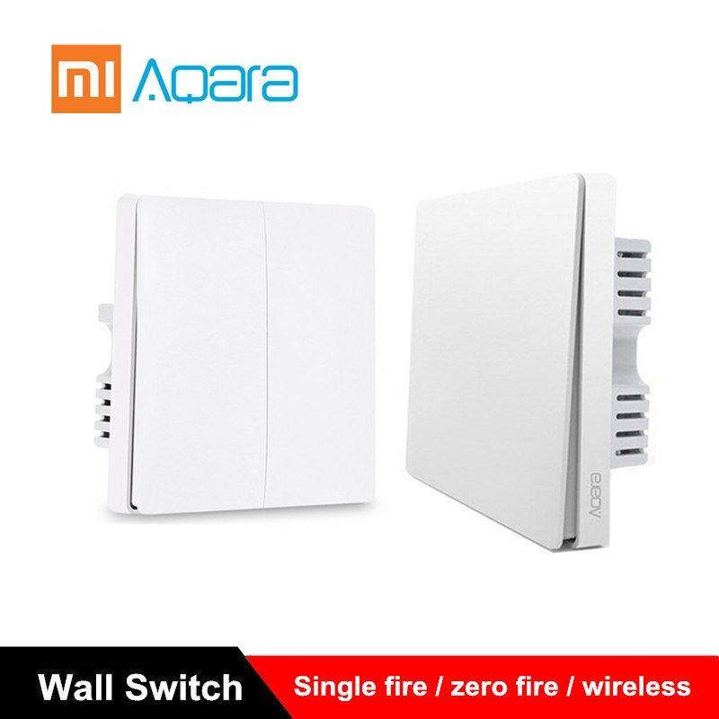 Xiaomi Aqara interrupteur mural interrupteur de lumière ZigBee Version simple feu/zéro feu/commutateur sans fil APP contrôle Kit de maison intelligente à distance