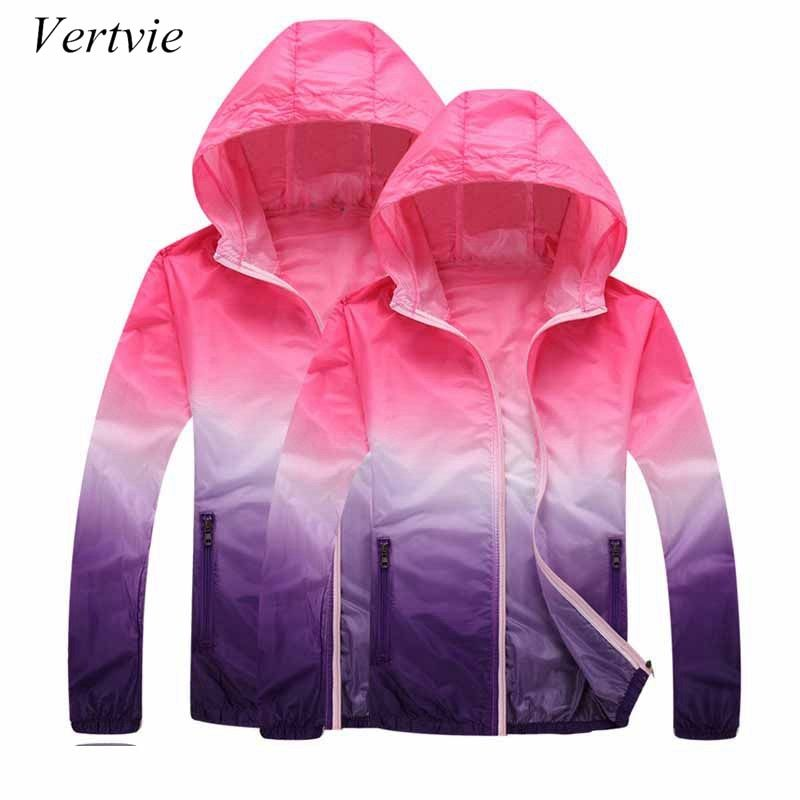 Vertvie Gradienten Gedruckt Lauf Jacken Für Frauen Männer Liebhaber Dünne Haut Sport Jacke Mit Kapuze Strickjacke Quick Dry Sonnenschutz