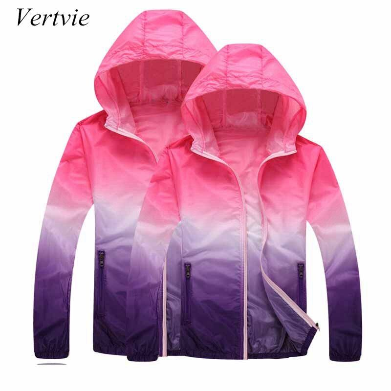 vertvie Gradient Printed Running Jackets For Women Men Lovers Thin Skin Sport Jacket Hooded Cardigan Quick Dry Sun Protection