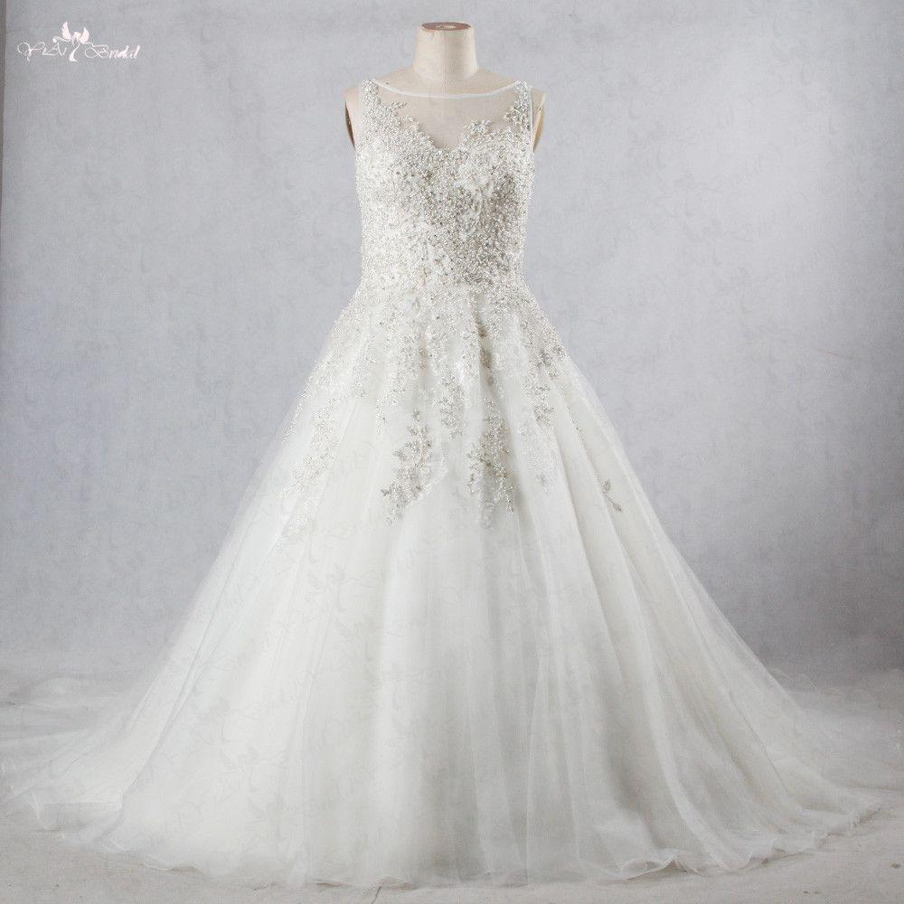 RSW1069 Schweres Wulstiges Silber Spitze Appliques Boot Ausschnitt Sleeveless Plus Size Hochzeitskleid Prinzessin Brautkleider