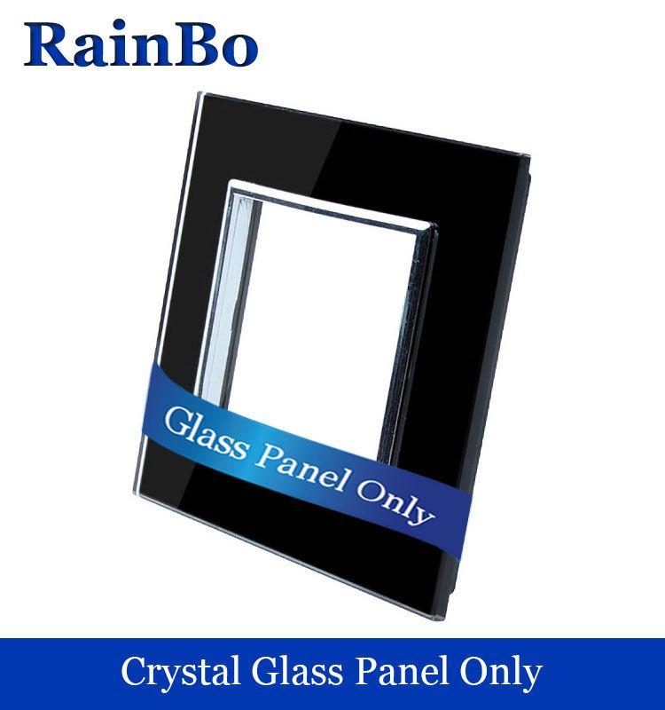 Free shipping Luxury Crystal Double Glass Panel 1 Frames Wall Switch socket Panel 80mm*80mm EU Standard DIY Accessories welaik