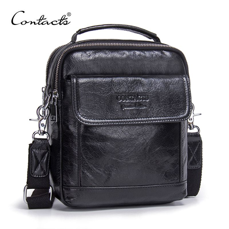 CONTACT'S Genuine Cow Leather Messenger Bags Flap Casual Men Solid Handbags Famous Brand Small Male Shoulder Crossbody Bags
