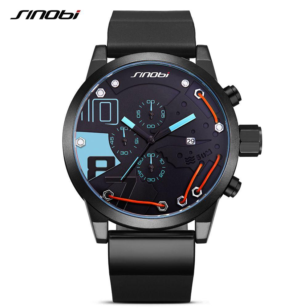 SINOBI Для мужчин спортивный хронограф силиконовые часы Водонепроницаемый лучший бренд класса люкс Мужские часы модные Повседневное кварц ...
