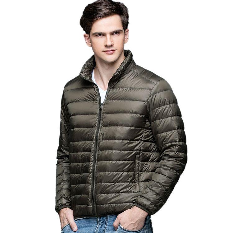 New Autumn Winter Man Duck Down Jacket Ultra Light Thin Plus Size Spring Jackets Men Stand Collar Outerwear Coat