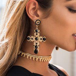 Vintage Boho cristal Cruz pendientes para las mujeres barroco Bohemia grandes pendientes largos Brincos 2018