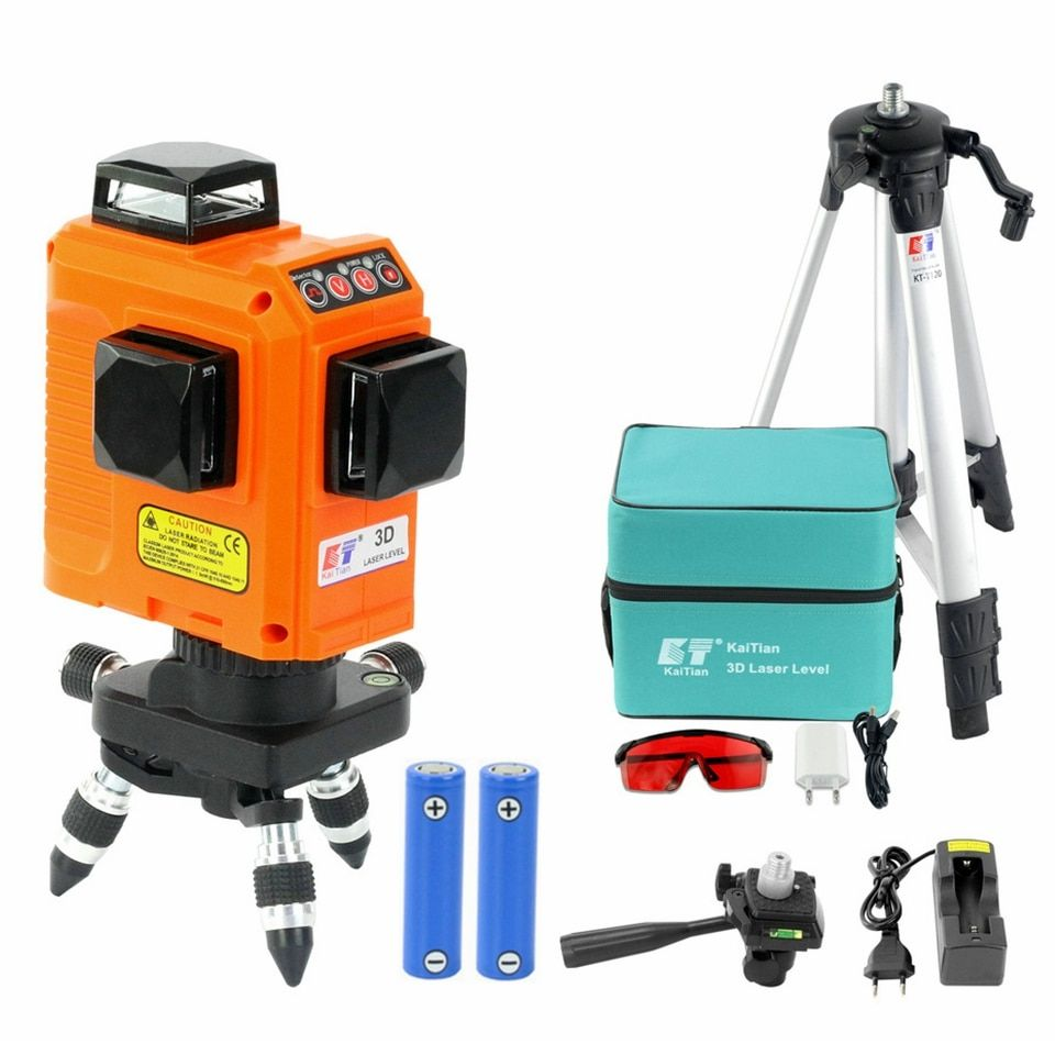 KaiTian 12 Lines 3D Laser Level Tripod Self-Leveling 360 Horizontal 650nm Vertical Bracket Cross Red Laser Beam Line Level Lazer