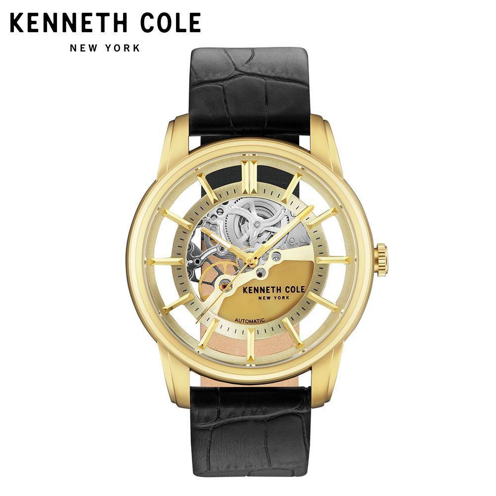 Kenneth Cole Herren Uhren Auto Mechanische Gold Schwarz Leder Schnalle Edelstahl 2018 Luxus Marke Wasserdichte Uhr