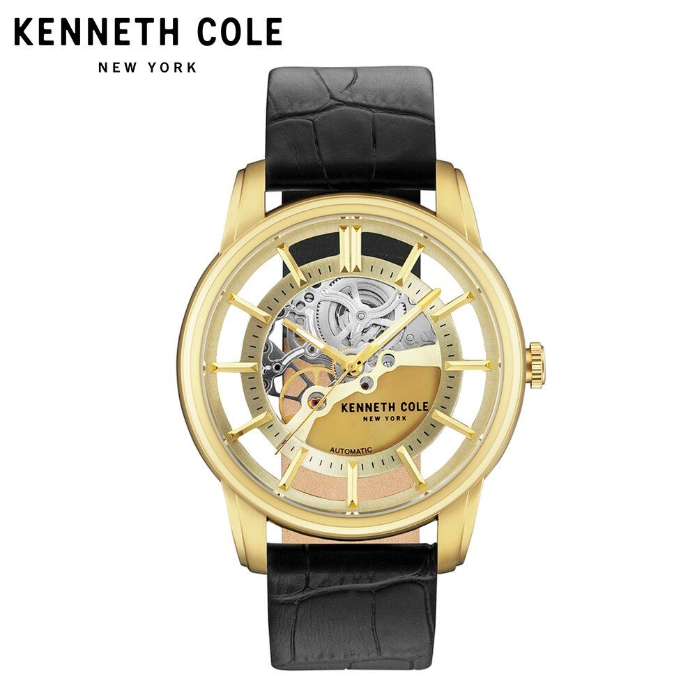Kenneth Cole Mens Watches Auto Mechanical Gold Black Leather Buckle Strap Stainless Steel 2018 Luxury Brand Waterproof Watch