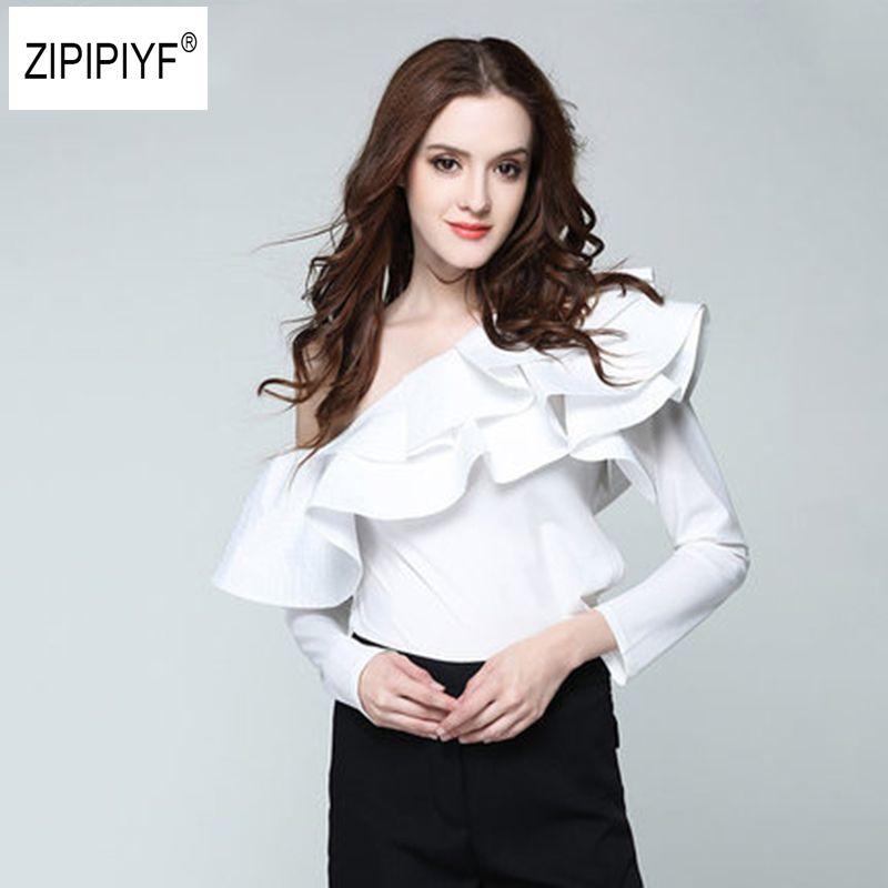 2018 Spring Summer Blouse Women Tops One Shoulder Petal Sleeve Skew collar Blouse Shirt Striped Double Layer Ruffle Blusas B1084