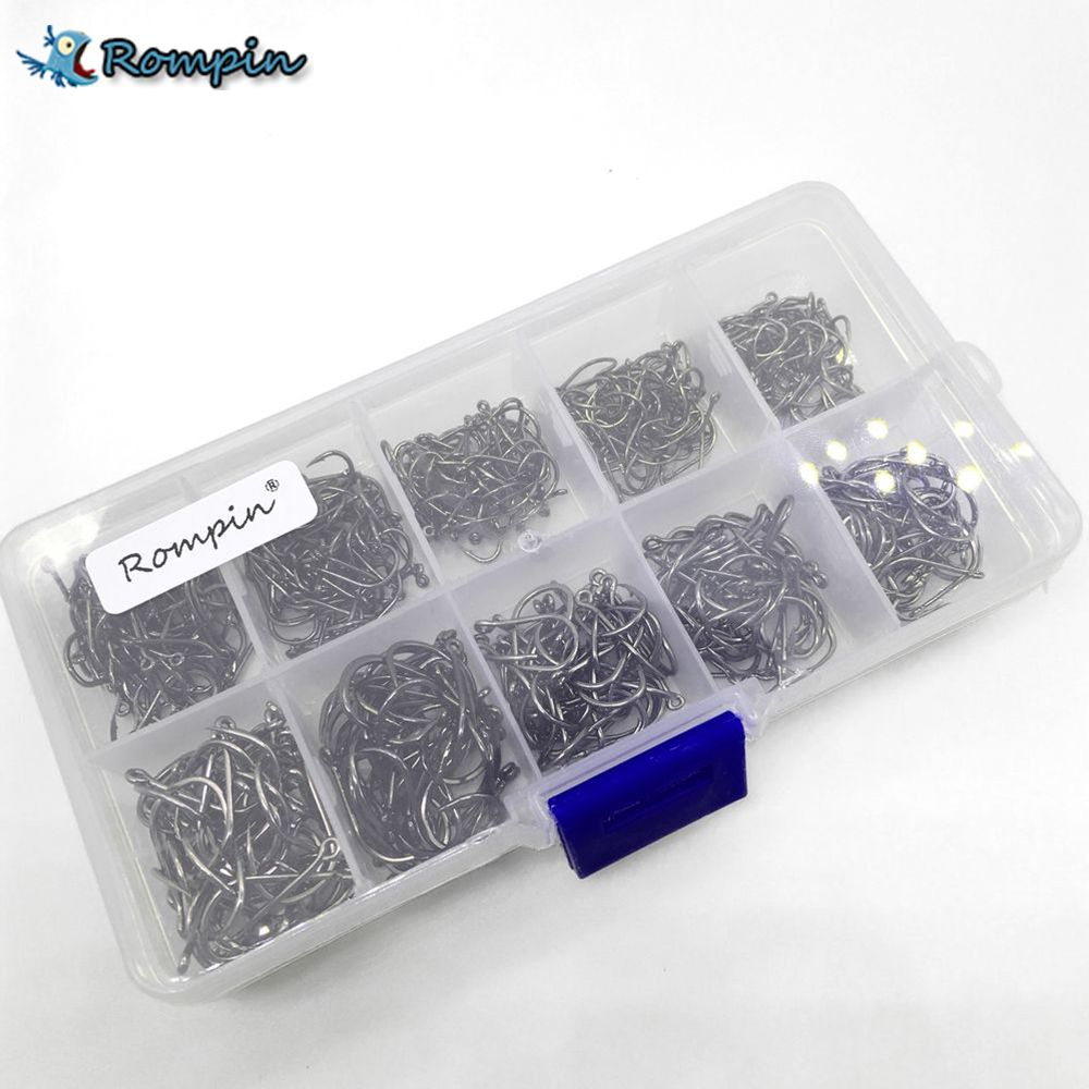 Rompin 500Pcs/set mixed different size with Plastic Box packed #3~12 BronzeSea Fishing Hooks with hole Carbon Steel Sharp Hooks