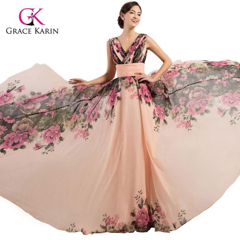 Grace Karin 4 Designs Dresses Chiffon Evening Dress 2017 Floral Formal Dresses Party Gowns Long Prom Dresses robe de mariee