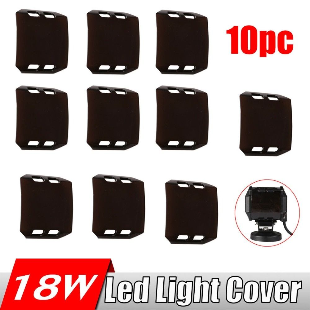 10Pcs Snap On Dust Proof Protective Cover 4x4 Amber Clear Black Red Green Blue Color Shell For 18W 4 INCH LED Work Light Bar