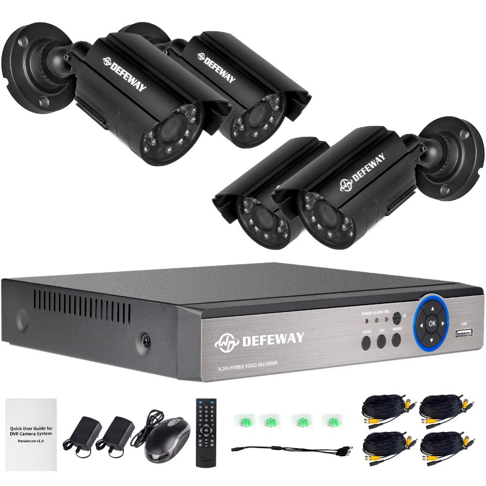 DEFEWAY 8CH 1080N HDMI DVR 1200TVL 720P HD Outdoor Security Camera System 8 Channel CCTV <font><b>Surveillance</b></font> DVR Kit AHD Camera Set