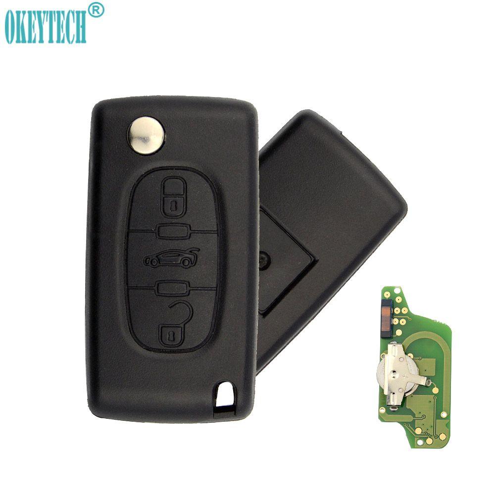 OkeyTech CE0523 CE0536 Flip remote car key 3 buttons middle trunk for Peugeot key 307 <font><b>Citroen</b></font> c5 c4 key 433mhz ID46 PCF7941 VA2