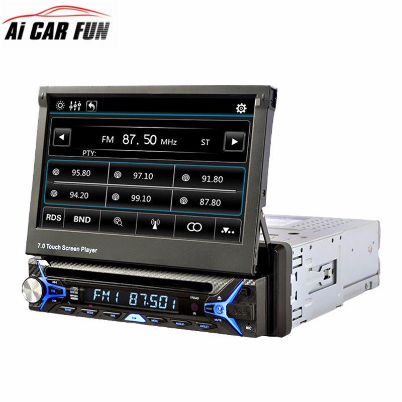 7 дюймов 1 DIN выдвижной Сенсорный экран dvd-плеер автомобиля bluetooth fm/RDS Радио тюнер Съемная Панель dvd-плеер авто радио стерео