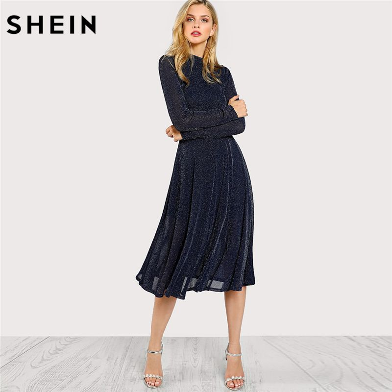 SHEIN A Line Ladies Dresses Navy Long Sleeve Mock Neck Glitter Fit abd Flare Dress Stand Collar Elegant Party Dress