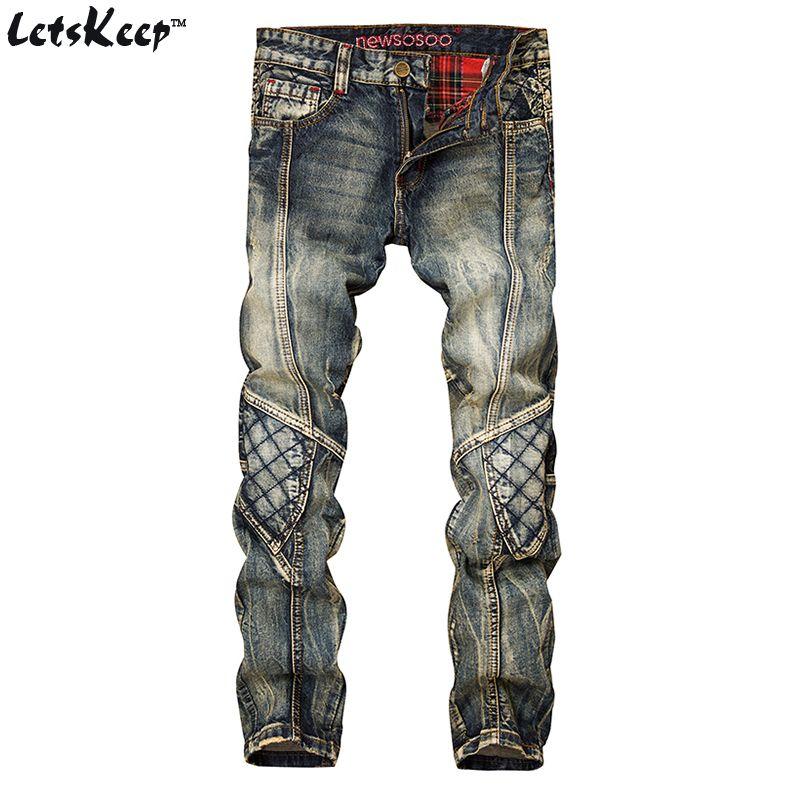 Letskeep Новинка 2017 года лоскутные джинсы для мужчин Байкер Узкие рваные джинсы в стиле панк мужские клетчатые дизайнерские джинсы Штаны одежд...