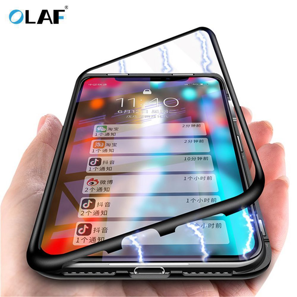 OLAF Magnetic Adsorption Metal Case For iphone X 7 8 Case Luxury Magnet Tempered Glass Case Cover For iphone XS Max XR 7 8 Plus