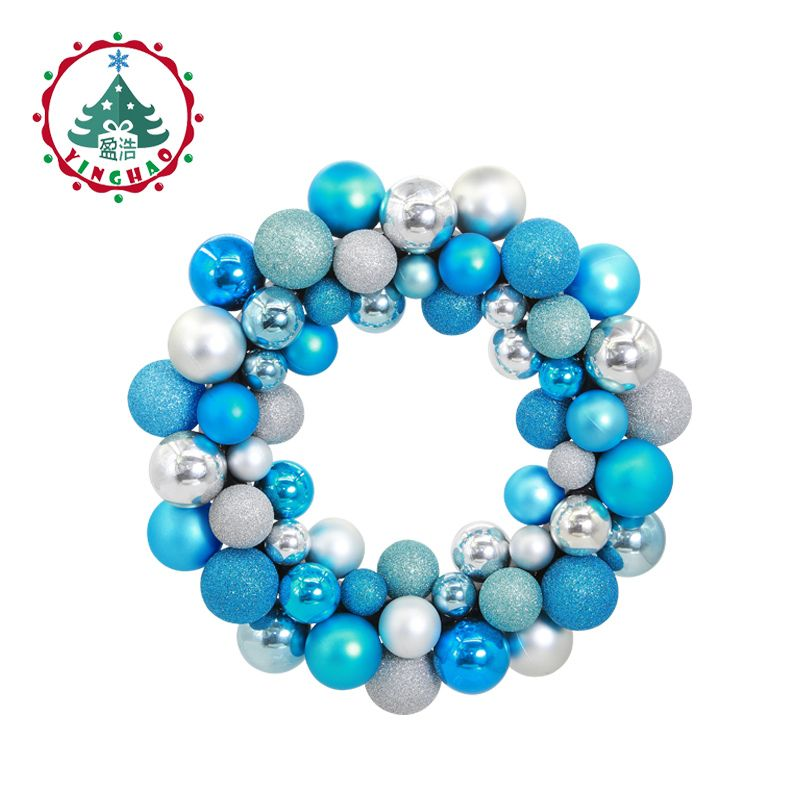 inhoo polystyrene balls ring Christmas Wreath Garland Hanging Pendant Decor For <font><b>Restaurant</b></font> Window Door Wedding Decorations