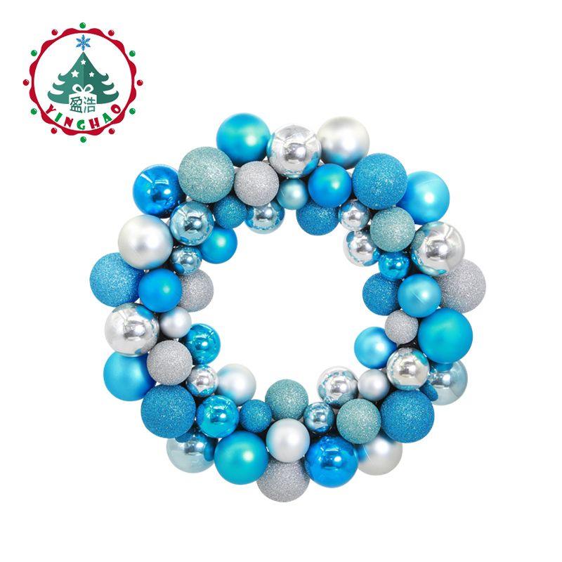 inhoo polystyrene balls ring Christmas Wreath Garland Hanging <font><b>Pendant</b></font> Decor For Restaurant Window Door Wedding Decorations