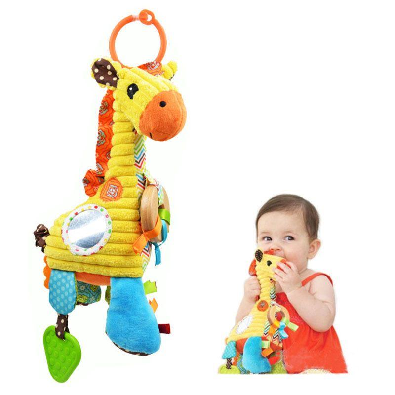 Bebé Jirafa Musical Desarrollo Temprano de la Felpa Cama de Campana Educativa Anillo Colgar Juguetes