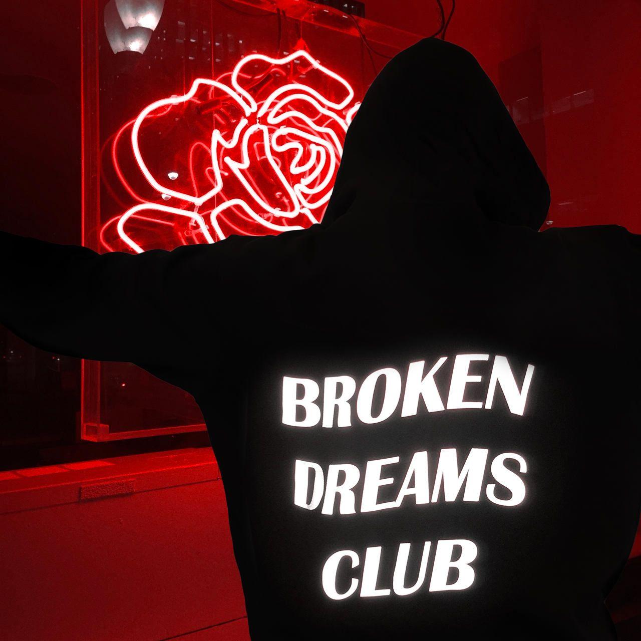 2017 new fashion sweatshirts BROKEN DREAM CLUB Reflective Unisex Hoodie Black
