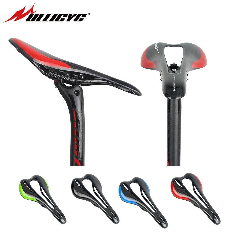 Ullicyc Leather/Original 3K Carbon Bow Saddle Road Bike Mountain Road Bicycle Saddle 3K Carbon Matte Black Free Shipping ZD157