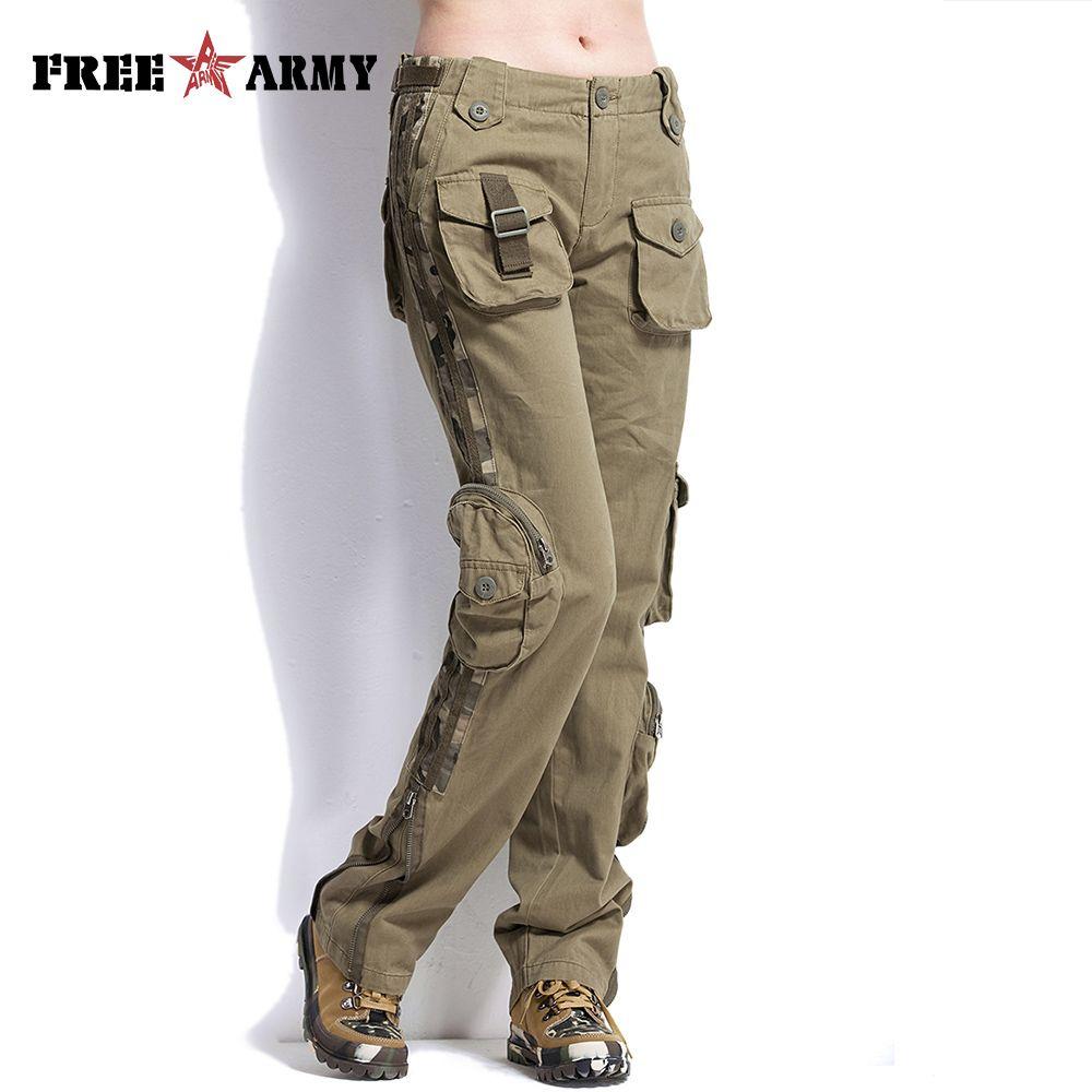 FREEARMY Plus La Taille Femmes Pantalon Occasionnels Kaki Mi Taille Pantalon Cargo Militaire Dames Poches de Pantalon Couple Extérieur Pantalon