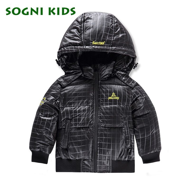 1-6 Años Abajo de la capa para Niños Chaqueta capucha desmontable niño invierno pato abajo chaqueta de plumas de abrigo para los niños Niños de la Marca escudo