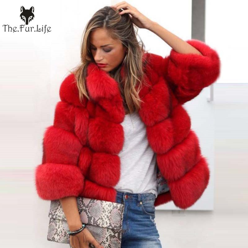 2018 neue Ankunft Frauen Winter Dicken Pelzmantel Echt Fox Pelz Jacke Hohe Qualität Fuchs Mantel Stehkragen Outfit