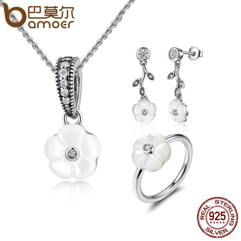 BAMOER Genuine 925 Sterling Silver White Flower Luminous Florals, Mother-Of-Pearl Jewelry Sets Sterling Silver Jewelry ZHS013