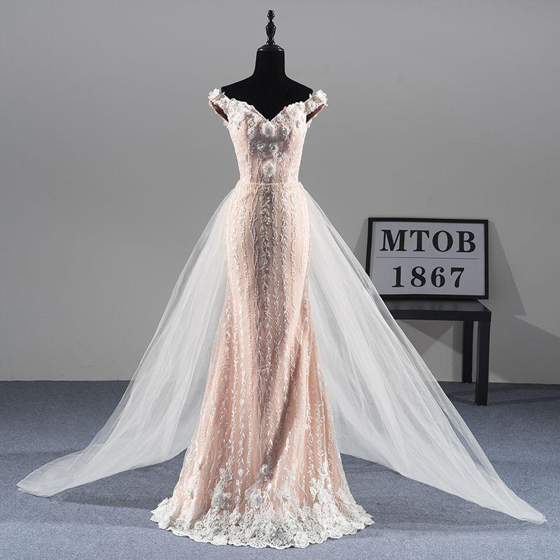 Neue Herrliche Meerjungfrau Spitze Brautkleider Abnehmbarem zug Sexy Luxus Elegante brautkleider vestido de noiva MTOB1811